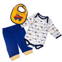 Bon Bebe Комплект Боди с длинным рукавом, штанишки и нагрудник, 3 предмета для мальчика -