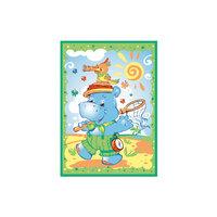 Одеяло байковое Бегемот и Попугай, 100х140, Baby Nice, зелёный