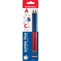 Цветные карандаши, 2-цветные треугольн., c точилкой. ErichKrause Jumbo