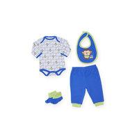 Bon Bebe Комплект Боди, штанишки, нагрудник и пинетки для мальчика -