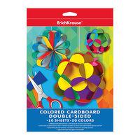 Двусторонний цветной картон А4 (10 листов, 20 цветов) Erich Krause