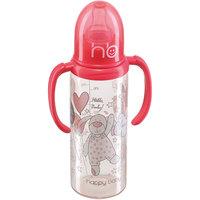 Бутылочка с двумя силиконовыми сосками, 250 мл, Happy Baby, красный