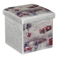 """Пуф-короб для игрушек """"Ретро-автомобили"""" Рыжий кот"""