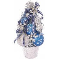 Ель декорированная из шаров, серебряные, синие украшения Волшебная Страна