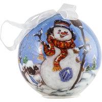"""Шар с LED-лампочками """"Веселый снеговик"""" 8 см Волшебная Страна"""