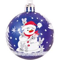"""Шары с рисунком """"Снеговик"""", 6 см, 4 шт., цвет - синий Волшебная Страна"""