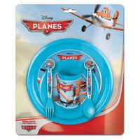 Самолеты Набор посуды: миска + тарелка + стакан + ложка + вилка. Новый Диск