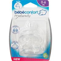 Комплект из 2-х сосок из силикона для бутылочек с широким горлышком, 6-24 мес., Bebe Confort