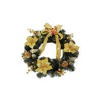 Венок рождественский, 40 см, золотые украшения Волшебная Страна