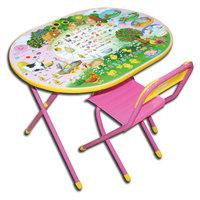 """Розовый набор детской мебели """"Веселая ферма"""" (овал; 3-7 лет), Дэми"""