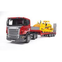 Тягач с прицепом–платформой Scania с гусеничным бульдозером CAT, Bruder