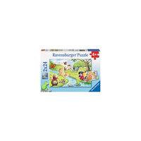 Набор пазлов «Веселые животные» 2х24 детали, Ravensburger