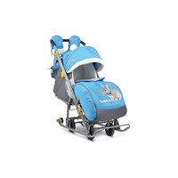 Санки-коляска Ника детям 7-2, Кролик, синий/серый