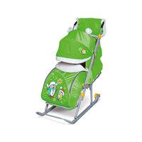 Санки-коляска Ника детям 6, Пингвины, зеленый
