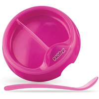 Двухсекционная  тарелка с ложкой, Nuby, розовый