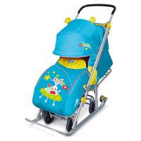 Санки-коляска Ника детям 7, Заяц в космосе бирюзовый