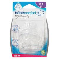 Комплект из 2-х сосок из силикона для бутылочек со стандартным горлышком, 0-6 мес., Bebe Confort