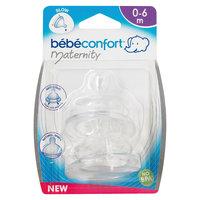 Комплект из 2-х сосок из силикона для бутылочек с широким горлышком, 0-6 мес., Bebe Confort