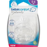 Комплект из 2-х сосок из силикона для бутылочек с широким горлышком, 0-12 мес., Bebe Confort