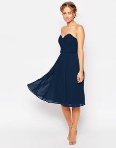 Шифоновое платье‑бандо миди ASOS WEDDING - Телесный