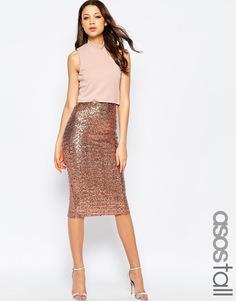 Облегающее платье с укороченным топом и пайетками на юбке ASOS TALL - Bronze