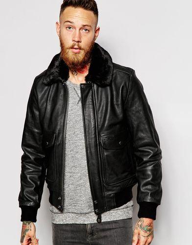 Кожаная куртка с воротником из искусственного меха Schott - Черный