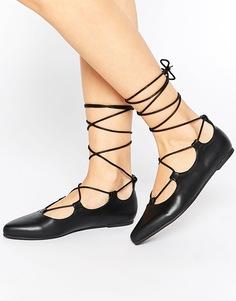Туфли на плоской подошве Truffle Collection Stella Ghillie - Черный полиуретан