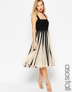 Платье миди с юбкой-годе и сетчатой вставкой ASOS TALL - Черно-белый