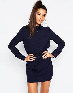 Платье-рубашка в стиле милитари Missguided - Темно-синий