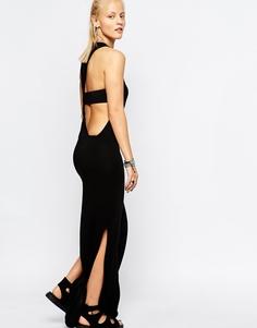 Платье макси с перекрученной бретелью на спине Religion - Jet black