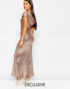 Платье макси с пайетками и свободным вырезом сзади Maya - Светлое розовое золото