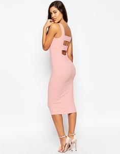 Облегающее платье миди с ремешками на спинке ASOS - Телесный