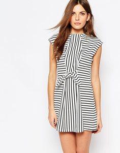 Платье с принтом в полоску и завязками на талии Vero Moda - Многоцветная полоска