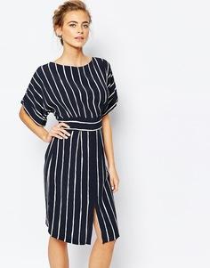 Платье миди с завязкой сзади и разрезом спереди Closet - Черный в полоску