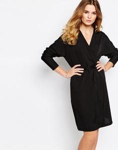 Платье-кимоно с запахом спереди First & I - Черный