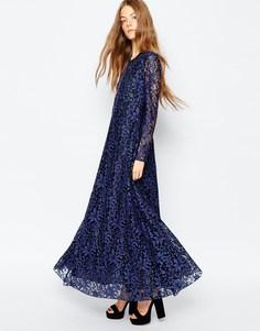 Платье макси с синими цветами Sportmax Code - 002 небесно-синий