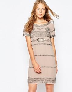 Цельнокройное платье с отделкой Vila - Кремовый