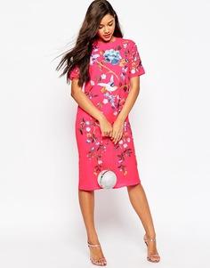 Цельнокройное платье миди с вышивкой ASOS - Fluro pink