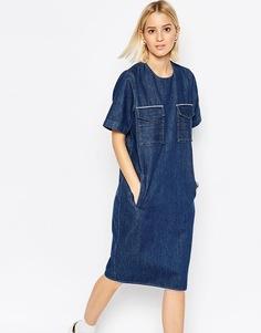 Джинсовое платье миди в стиле милитари ASOS WHITE - Синий