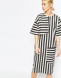 Джинсовое платье миди с полосками ASOS WHITE - Мульти