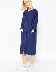Платье-пиджак с принтом в елочку и D-образным кольцом ASOS WHITE - Синий