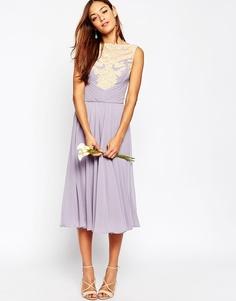 Кружевное платье миди ASOS WEDDING - Сиреневый