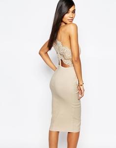 платье-футляр с кружевным лифом и фигурной отделкой Rare London - Телесный