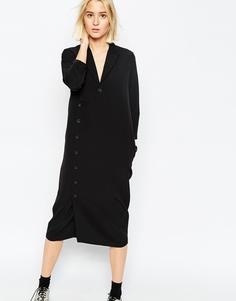 Платье-рубашка с длинными рукавами и пуговицами сбоку ASOS WHITE - Черный