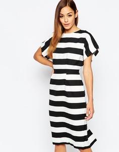 Платье-футляр в полоску с открытой спиной ASOS - Мульти
