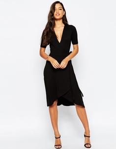 Чайное платье миди с запахом ASOS - Черный