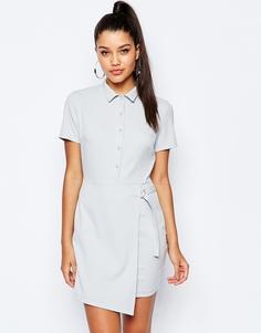 Платье-рубашка с запахом и D‑образной пряжкой Missguided - Серый лед