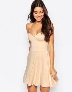 Короткое приталенное платье ASOS - Телесный