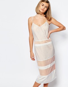 Кружевное платье-комбинация Lost Ink - Телесный