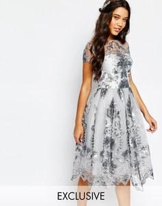Платье миди для выпускного с пайетками Chi Chi London - Лунный камень